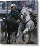 Ricky Huddleston Drops Off His Horse Metal Print by Bobby Model