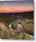 River And Moon Metal Print