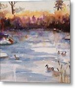 River Geese Metal Print