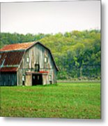 Riverbottom Barn In Spring Metal Print
