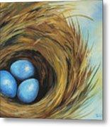 Robin's Three Eggs II Metal Print