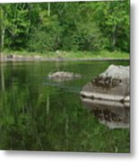Rock Reflection In The River Metal Print