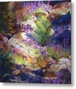 Rocks And Lupine    Sold Metal Print