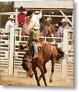 Rodeo Cowboy Riding A Wild Horse Metal Print