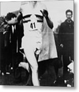 Roger Bannister Crossing The Finish Metal Print