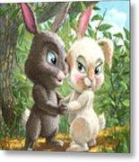 Romantic Cute Rabbits Metal Print