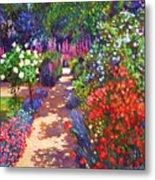 Romantic Garden Walk Metal Print by David Lloyd Glover