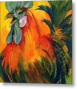 Rooster Of Another Color Metal Print
