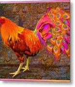 Rooster Peacock Metal Print