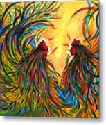 Roosters Frienship Metal Print