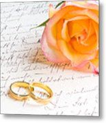 Rose And Two Rings Over Handwritten Letter Metal Print