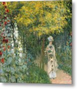 Rose Garden Metal Print by Claude Monet