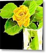 Rose In Vase Metal Print