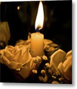 Roses And Candle Metal Print