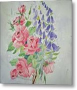 Roses And Digitalis Metal Print