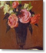 Roses In A Glass Impression Metal Print