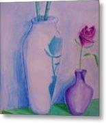 Roses  In Vase Metal Print