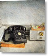 Rotary Dial Phone In Black S And H Stamps Metal Print by Paul Ward
