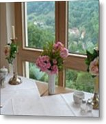Rothenburg Dining With A View Metal Print