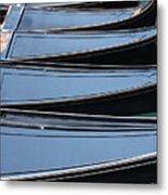 Row Of Gondolas In Venice Metal Print