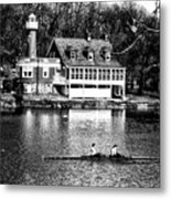 Rowing Past Turtle Rock Light House In Black And White Metal Print