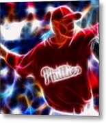 Roy Halladay Magic Baseball Metal Print by Paul Van Scott
