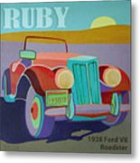 Ruby Ford Roadster Metal Print by Evie Cook