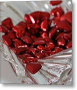 Ruby Red Hearts And Crystal Metal Print