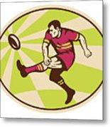Rugby Player Kicking The Ball Retro Metal Print