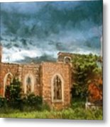 Ruins Under Stormy Clouds Metal Print