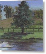Rural Landscape Painting Of Bauer Farm Metal Print