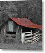 Rural Red - Red Roof Barn Rustic Country Rural Metal Print