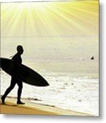 Rushing Surfer Metal Print