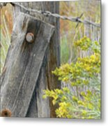 Rustic Fence And Wild Flowers Montana Metal Print