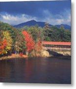 Saco River Covered Bridge Storm Metal Print