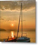 Sailboat And Sunrise Metal Print