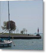 Sailboat On Lake Michigan Metal Print
