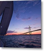 Sailboat Sailing Sunset On The Charleston Harbor  Metal Print by Dustin K Ryan