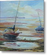 Sailboats At Low Tide Near Nelson, New Zealand Metal Print