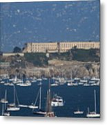 Sailboats In The San Francisco Bay Overlooking Alcatraz . 7d8080 Metal Print by Wingsdomain Art and Photography