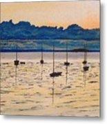 Sailboats Moored Clouds Front Ocean Sea Lake Metal Print