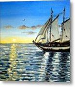 Sailing Day Sunset Metal Print