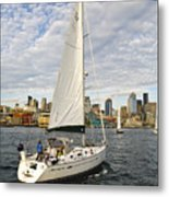 Sailing In Seattle Metal Print