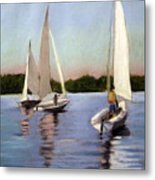 Sailing On The Charles Metal Print by Lenore Gaudet