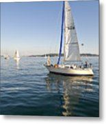 Sailing Reflection Metal Print