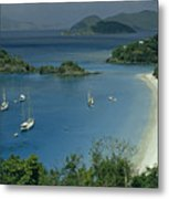 Sailing Yachts Anchor Off Of A Pristine Metal Print by James L. Stanfield