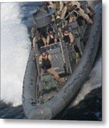 Sailors Operate A Rigid-hull Inflatable Metal Print