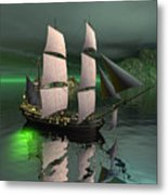 Sailship In The Night Metal Print