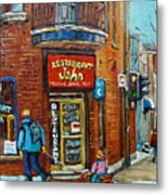 Saint Henri Street In Winter Metal Print