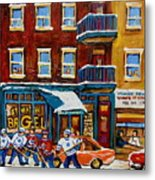Saint Viateur Bagel With Hockey Metal Print